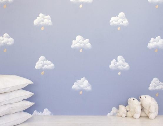 papel pintado nubes para nios
