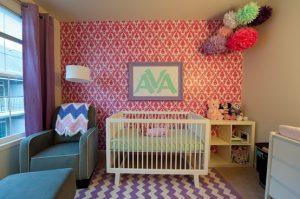 Papel pintado rosa cuarto niña