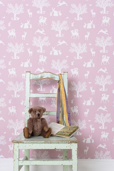 Papel pintado rosa ni as decoraci n infantil - Papel para habitacion ...