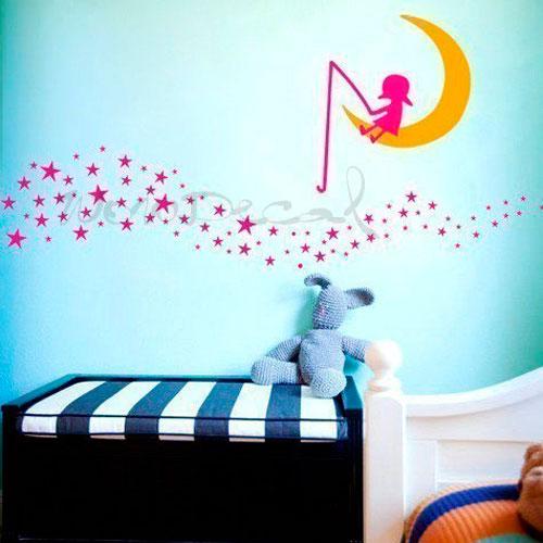 vinilos infantiles de luna y estrellas